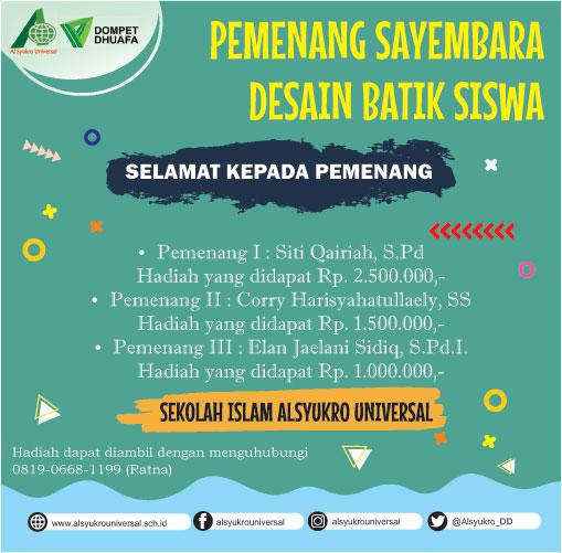 Pengumuman Lomba Batik Al Syukro
